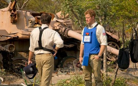 Prince Harry, the Duke of Sussex, on a recent visit to the Cuito Cuanavale battle field with the HALO Trust - Credit: PA Wire/HALO Trust