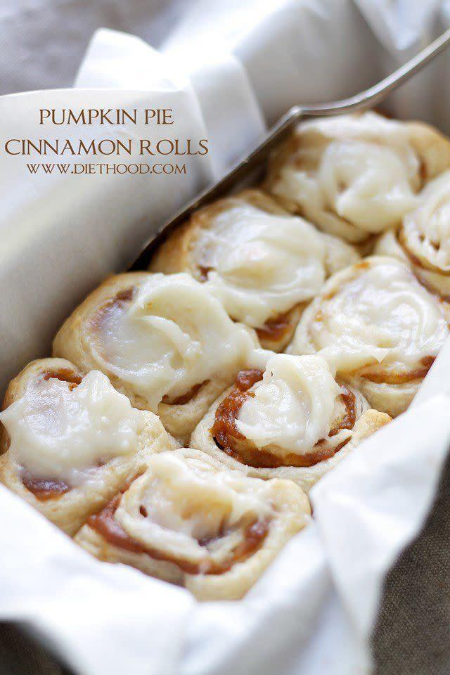 """Speaking of breakfast, we think pumpkin works spectacularly in cinnamon rolls too. After all, cinnamon and pumpkin go together like Thanksgiving and stuffing! <a href=""""http://diethood.com/pumpkin-pie-cinnamon-rolls/"""" rel=""""nofollow noopener"""" target=""""_blank"""" data-ylk=""""slk:Find the recipe at Diethood"""" class=""""link rapid-noclick-resp"""">Find the recipe at Diethood</a>."""