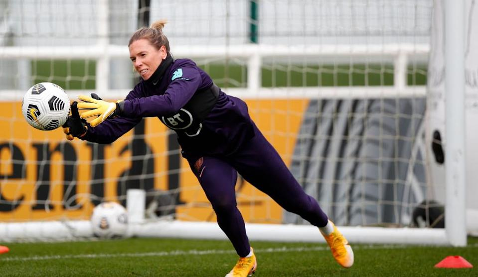 Carly Telford with England this week. Not sure what it would make The Fiver, alarmingly.