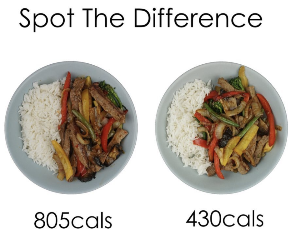 One dietitian uses the 'spot the difference' game to teach about portion control, incorporating healthy veg and weight loss [Photo: Instagram]