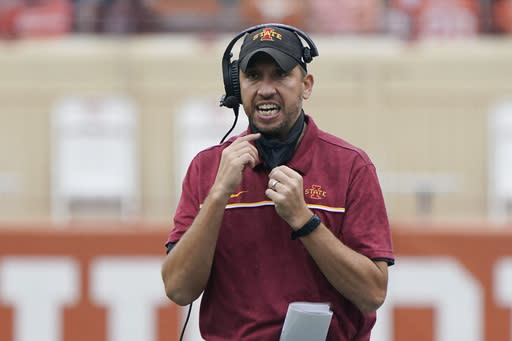 FILE - In this Nov. 27, 2020, file photo, Iowa State head coach Matt Campbell reacts during the first half of an NCAA college football game against Texas in Austin, Texas. Campbell was selected as thee Big 12 coach of the year.(AP Photo/Eric Gay, File)