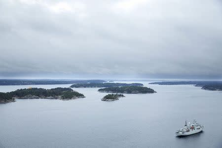 A Swedish minesweeper patrols the waters of the Stockholm archipelago