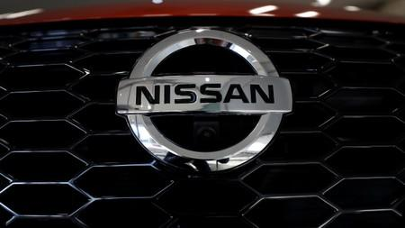 A badge is seen on the new Juke car at Nissan's car plant in Sunderland Britain