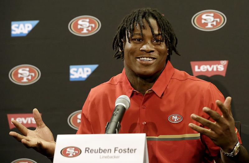 Reuben Foster was the 31st player taken in the 2017 NFL draft. (AP)