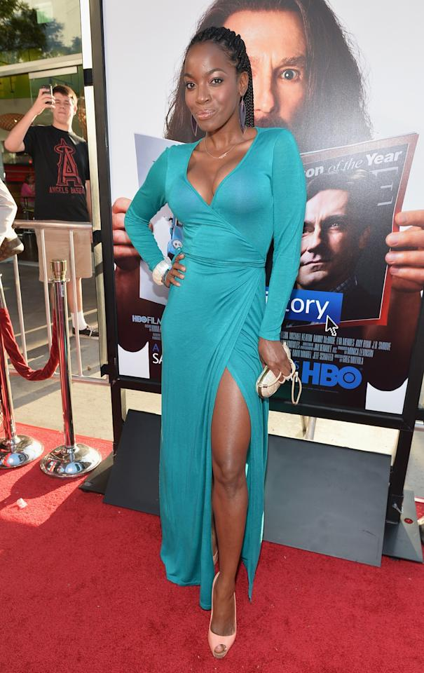 """HOLLYWOOD, CA - JULY 31: Actress Milauna Jackson arrives to the premiere of HBO Films' """"Clear History"""" at ArcLight Cinemas Cinerama Dome on July 31, 2013 in Hollywood, California. (Photo by Alberto E. Rodriguez/Getty Images)"""
