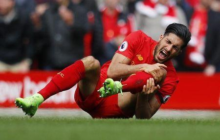 Britain Soccer Football - Liverpool v Everton - Premier League - Anfield - 1/4/17 Liverpool's Emre Can after a foul by Everton's Ashley Williams (not pictured) Reuters / Phil Noble Livepic