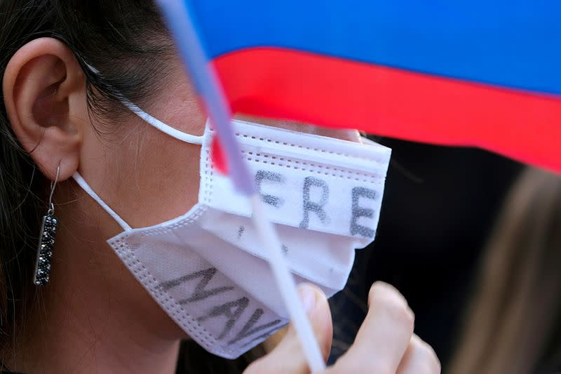 FILE PHOTO: Protesters march in Hollywood during a demonstration in support of Russian opposition politician Alexei Navalny
