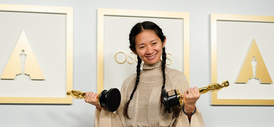 Director/Producer Chloe Zhao, winner of the award for best picture for
