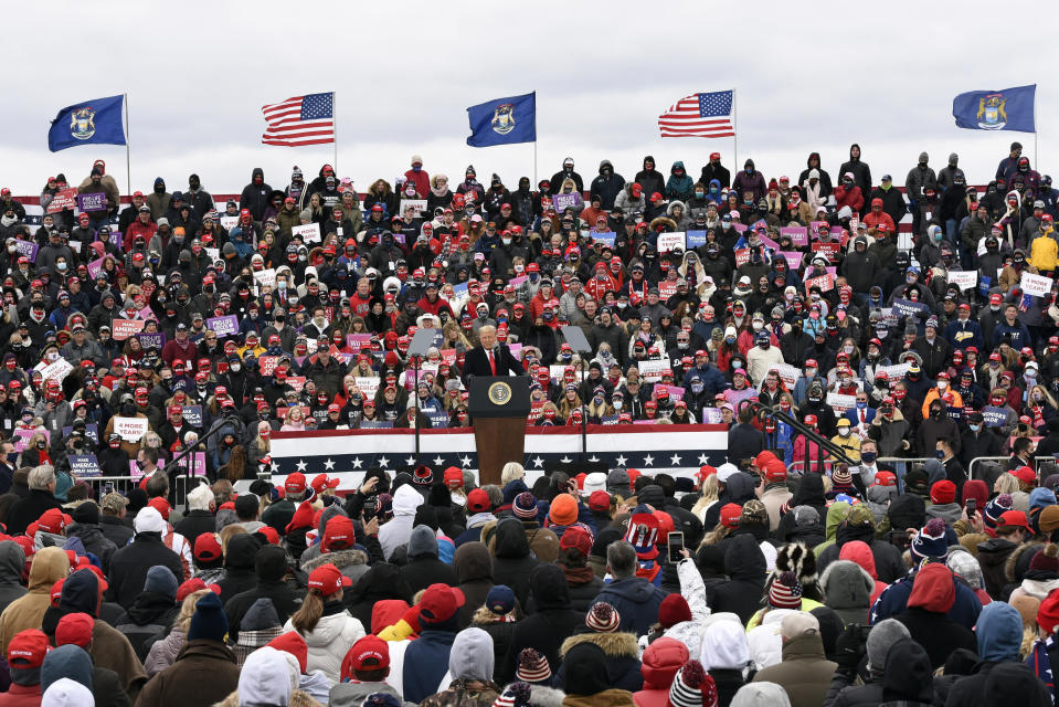 President Donald Trump speaks at a campaign rally at Oakland County International Airport, Friday, Oct. 30, 2020, in Waterford Township, Mich. (AP Photo/Jose Juarez)
