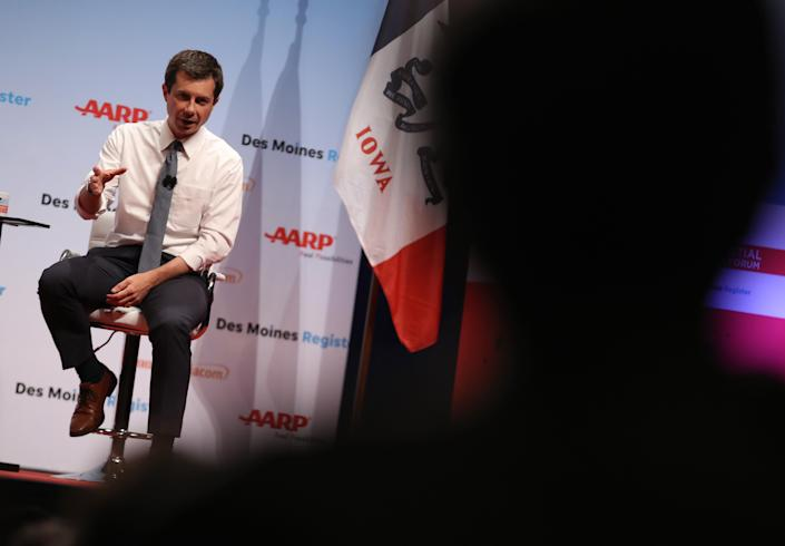 Pete Buttigieg spoke at an AARP/Des Moines Register forum in July. (Photo by Justin Sullivan/Getty Images)