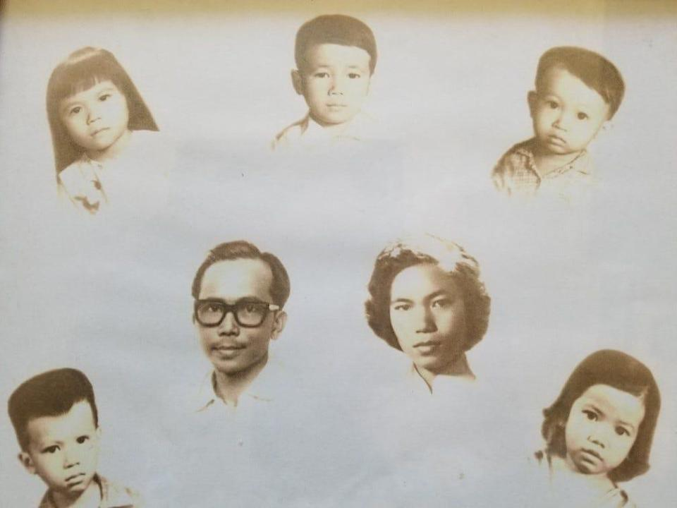 From top left before the fall of Saigon in 1975, Thuan Le Elston, brothers Truong, Tran and Tu; parents Nghia and Duc; and sister Tien.