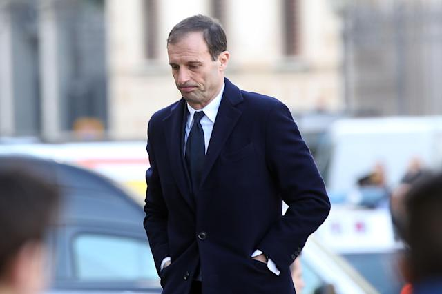 <p>Juventus boss Max Allegri arrives at the funeral in Florence. </p>