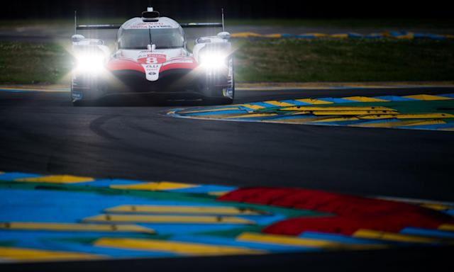 The Toyota of Sebastien Buemi, Kazuki Nakajima and Fernando Alonso during a qualifying session at Le Mans.