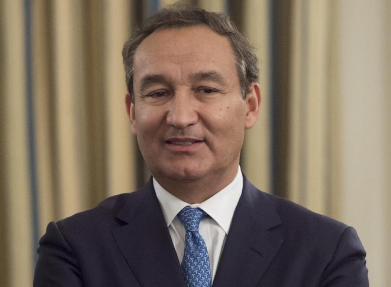 Oscar Munoz, President and CEO of United Airlines, attends a meeting with airline industry executives hosted by US President Donald Trump in the State Dining Room of the White House in Washington, DC, February 9, 2017
