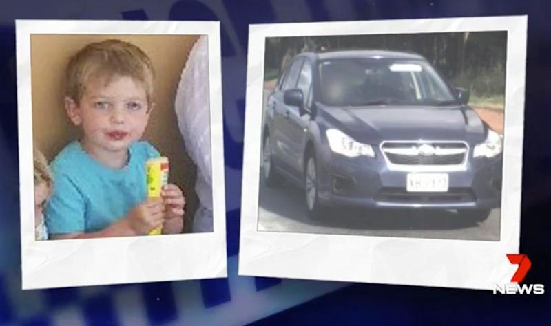 The three-year-old boy was in the back of the Subaru when it was stolen at around 2pm. Source: 7 News