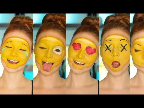 "<p>If you spend all your time texting, why not transform your face into an <a rel=""nofollow"" href=""https://www.goodhousekeeping.com/holidays/halloween-ideas/how-to/g3853/homemade-emoji-costumes/?"">emoji</a> for Halloween? This tutorial shows how to create five different expressions using just a few products. </p><p><em><a rel=""nofollow"" href=""https://www.youtube.com/channel/UCiXoZHFowJUlDVMuRFAwVAw"">See more on Madeyewlook »</a></em></p><p><strong>What you'll need:</strong> NYX Jumbo Eye Pencil in ""Milk"" ($5, <a rel=""nofollow"" href=""https://www.ulta.com/jumbo-eye-pencil?productId=xlsImpprod2150066"">ulta.com</a>), yellow face paint ($8, <a rel=""nofollow"" href=""https://www.amazon.com/Mehron-Makeup-Liquid-Paint-YELLOW/dp/B00886ITTC/ref=sr_1_1_sspa?tag=goodhousekeeping_auto-append-20&ascsubtag=[artid