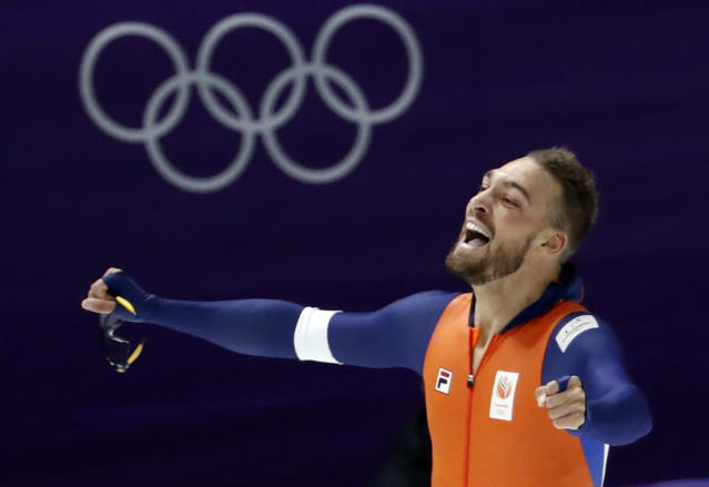 Speed Skating - Pyeongchang 2018 Winter Olympics - Men's 1000m competition finals - Gangneung Oval - Gangneung, South Korea - February 23, 2018 - Kjeld Nuis of Netherlands reacts after his race. REUTERS/Damir Sagolj