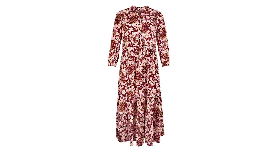 Fancy Floral Print Red Tiered Midi Dress