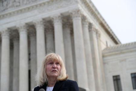 Sheri Lynn Johnson of the Cornell University Death Penalty Project, who represents Curtis Flowers, speaks to the news media outside of the U.S. Supreme Court building in Washington, U.S., March 20, 2019. REUTERS/Leah Millis