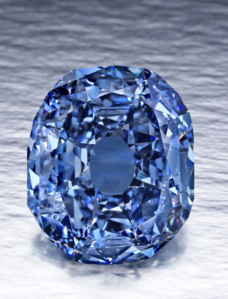 FILE - This undated file photo provided by the Smithsonian Institution shows the 31.06-carat Wittelsbach-Graff Diamond. The fancy, deep grayish blue diamond, discovered in India in the 17th century and purchased by London-based jeweler Laurence Graff in 2008 for $24.3 million, is on display at the Museum of Natural History in New York from Thursday, Oct. 28, 2010, through Jan. 2, 2011.