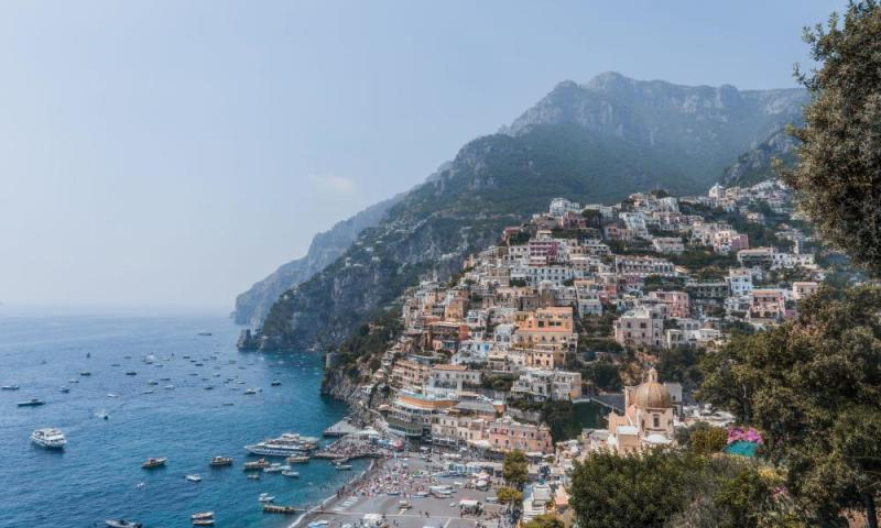 A view of Positano from a path leading to the mountainous interior of the Amalfi.