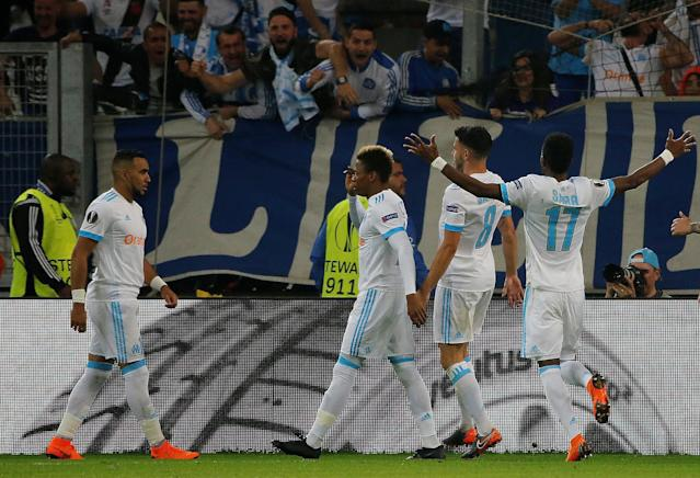 Soccer Football - Europa League Semi Final First Leg - Olympique de Marseille vs RB Salzburg - Orange Velodrome, Marseille, France - April 26, 2018 Marseille's Clinton Njie celebrates with team mates after scoring their second goal REUTERS/Jean-Paul Pelissier