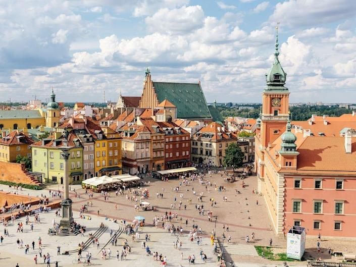 Aerial view of Warsaw historical old town, Poland - stock photo