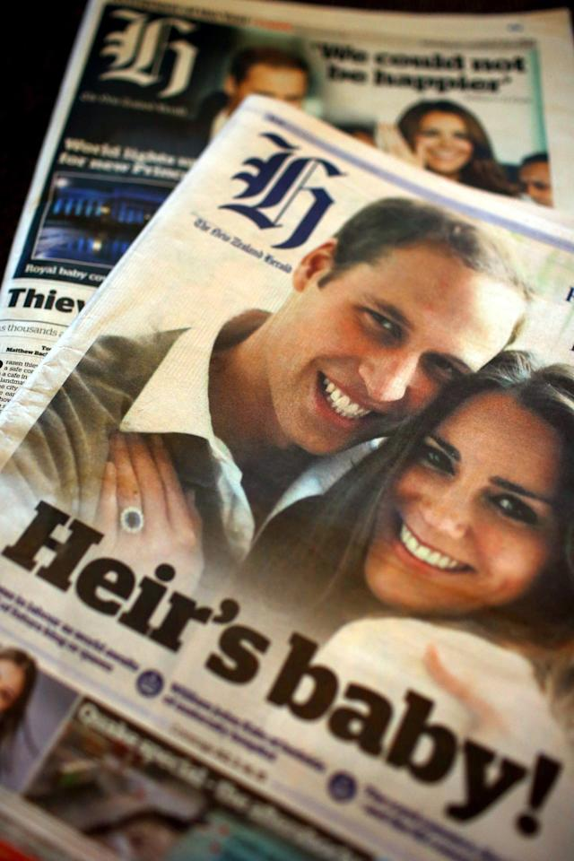 AUCKLAND, NEW ZEALAND - JULY 24: A view of the front pages of the New Zealand Herald following the birth of Prince William, the Duke of Cambridge, and Catherine, the Duchess of Cambridge's new baby boy yesterday, on July 24, 2013 in Auckland, New Zealand. The Duchess of Cambridge yesterday gave birth to a boy at 16.24 BST and weighing 8lb 6oz, with Prince William at her side. The baby, as yet unnamed, is third in line to the throne and becomes the Prince of Cambridge. (Photo by Phil Walter/Getty Images)