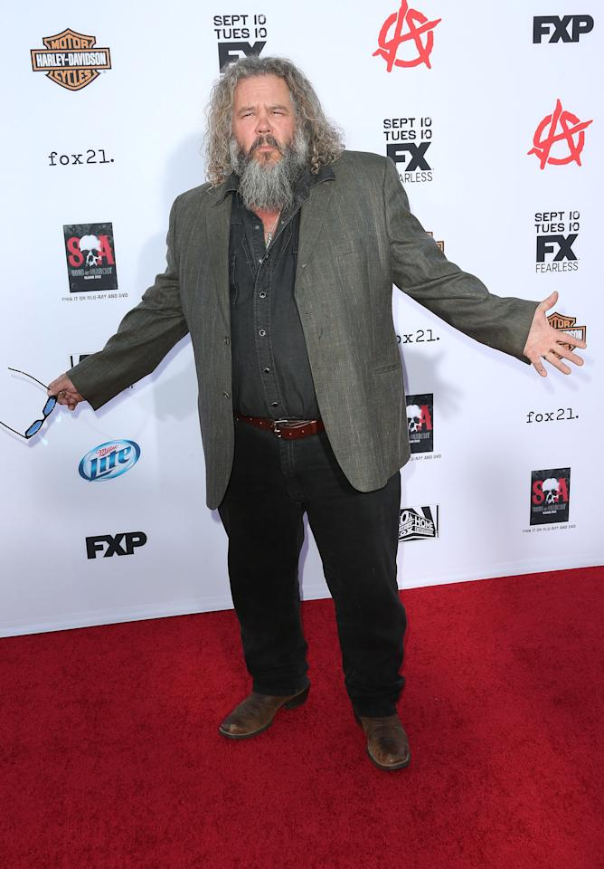 "HOLLYWOOD, CA - SEPTEMBER 07: Actor Mark Boone Junior attends the Premiere of FX's ""Sons of Anarchy"" Season 6 at the Dolby Theatre on September 7, 2013 in Hollywood, California. (Photo by Frederick M. Brown/Getty Images)"