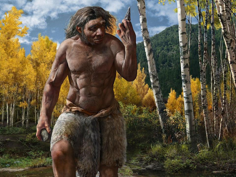Artist's impression of Dragon Man – a new species of ancient human identified in China – in his habitat (Chuang Zhao/PA)