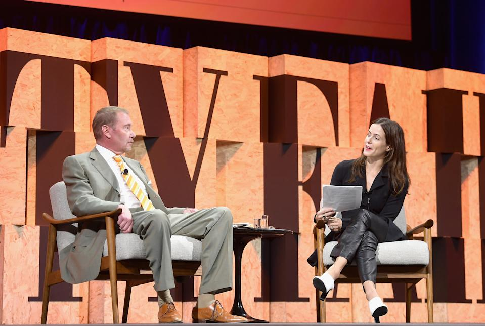 BEVERLY HILLS, CA - OCTOBER 03:  CEO of DoubleLine Capital Jeffrey Gundlach and Contributing Editor at Vanity Fair Bethany McLean speak onstage during Vanity Fair New Establishment Summit at Wallis Annenberg Center for the Performing Arts on October 3, 2017 in Beverly Hills, California.  (Photo by Matt Winkelmeyer/Getty Images)
