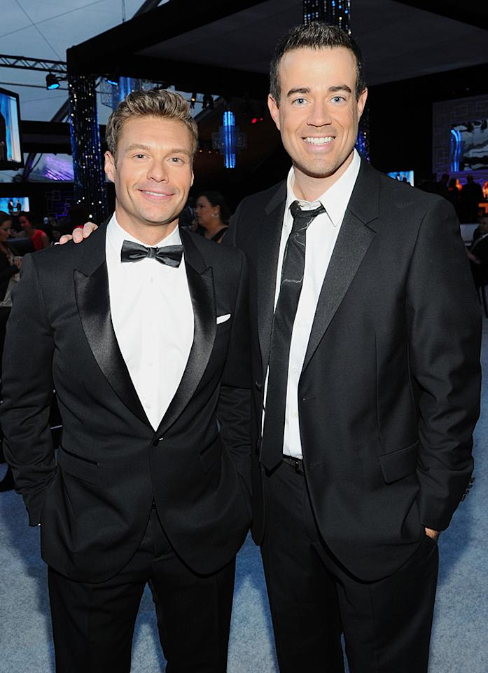BEVERLY HILLS, CA - JANUARY 15:  TV personalities Ryan Seacrest (L) and Carson Daly attend NBCUniversal's 69th Annual Golden Globes Viewing and After Party Sponsored By Chrysler and Hilton at The Beverly Hilton hotel on January 15, 2012 in Beverly Hills, California.  (Photo by Michael Buckner/Getty Images for NBCUniversal)