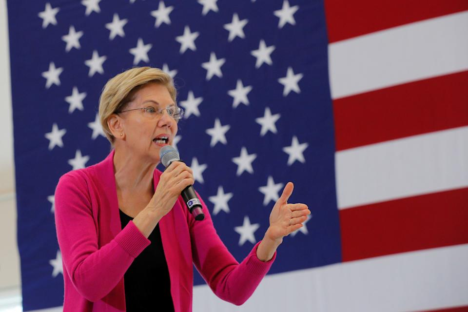 Democratic 2020 U.S. presidential candidate and U.S. Senator Elizabeth Warren (D-MA) speaks at a campaign town hall meeting at the University of New Hampshire in Durham, New Hampshire, U.S., October 30, 2019.   REUTERS/Brian Snyder