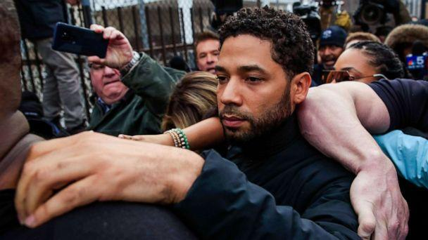 PHOTO: Actor Jussie Smollett emerges from the Cook County Court complex in Chicago, in this Feb. 21, 2019 file photo. (Tannen Maury/EPA via Shutterstock)