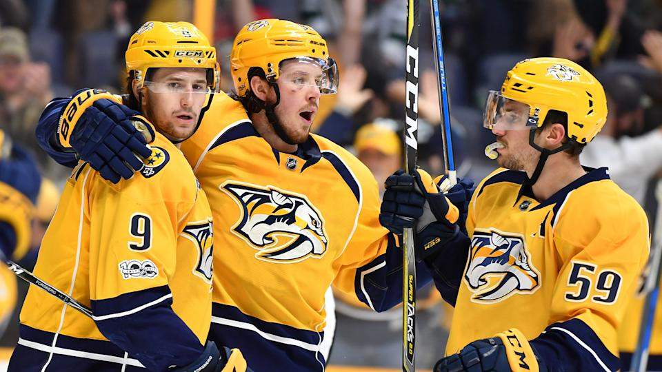 Stacking the Predators' Forsberg (9), Johansen (centre) and Josi (59) could be a winning formula. (Christopher Hanewinckel-USA TODAY Sports)