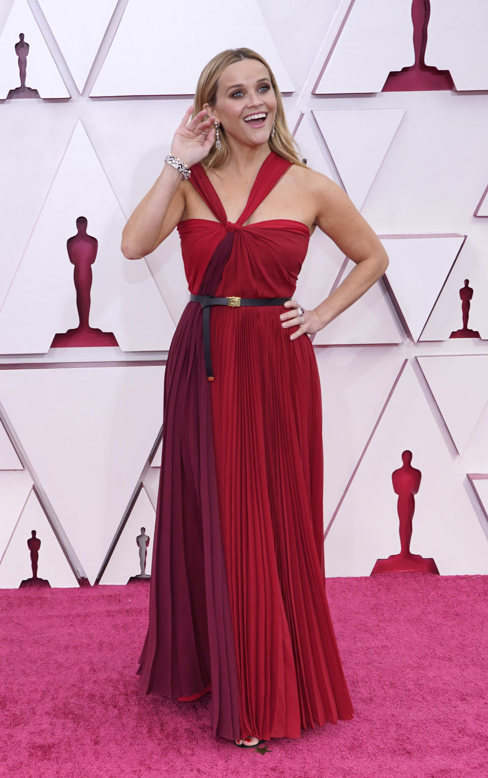 Reese Witherspoon arrives at the Oscars on Sunday, April 25, 2021, at Union Station in Los Angeles. (AP Photo/Chris Pizzello, Pool)
