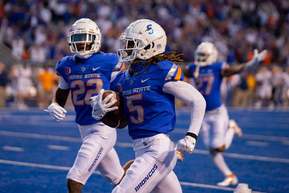 Boise State's Stefan Cobbs returns a punt for a touchdown against UTEP.