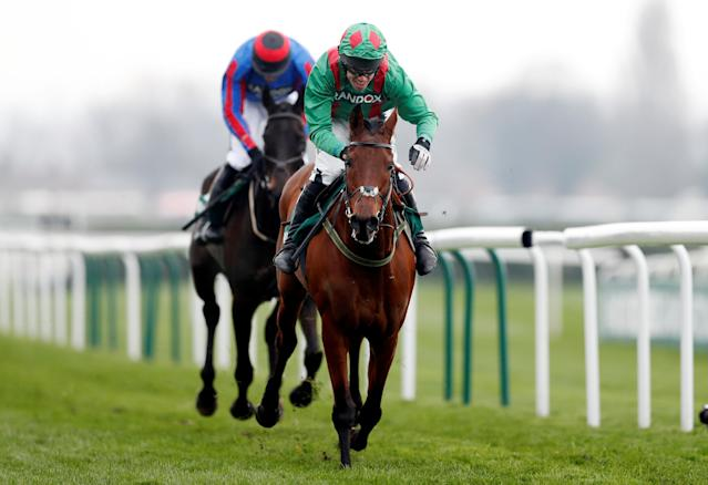 Horse Racing - Grand National Festival - Aintree Racecourse, Liverpool, Britain - April 12, 2018 Balnaslow ridden by Derek O'Connor in action before winning the 16:05 Randox Health Foxhunters' Open Hunters' Chase Action Images via Reuters/Matthew Childs