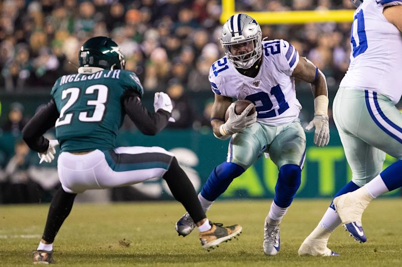 Dec 22, 2019; Philadelphia, Pennsylvania, USA; Dallas Cowboys running back Ezekiel Elliott (21) runs with the ball against Philadelphia Eagles free safety Rodney McLeod (23) at Lincoln Financial Field. Mandatory Credit: Bill Streicher-USA TODAY Sports