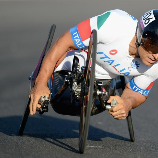 LONGFIELD, ENGLAND - SEPTEMBER 08: Alessandro Zanardi of Italy competes in the Mixed H 1-4 relay on day 10 of the London 2012 Paralympic Games at Brands Hatch on September 8, 2012 in Longfield, England. (Photo by Gareth Copley/Getty Images)