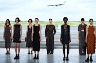 Hermes did not go for an ecological vibe, setting their show in an airport hangar outside Paris (AFP/Christophe ARCHAMBAULT)