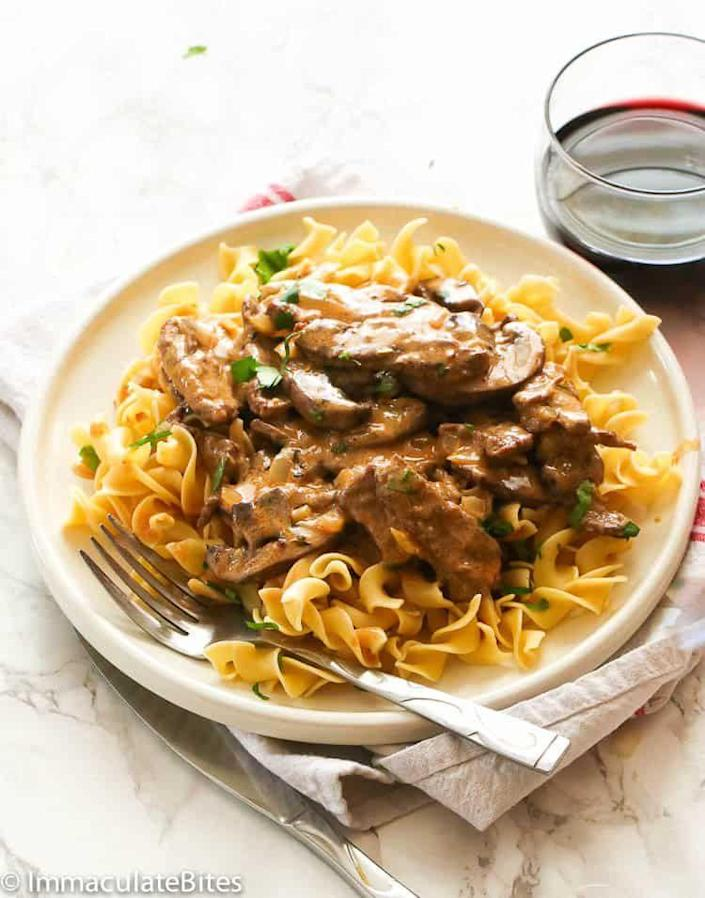 """<p>This classic dish has a rich mushroom gravy that's paired with strips of sirloin steak and egg noodles. It's leftover comfort food at its best. </p><p><strong>Get the recipe at <a href=""""https://www.africanbites.com/beef-stroganoff/"""" rel=""""nofollow noopener"""" target=""""_blank"""" data-ylk=""""slk:Immaculate Bites"""" class=""""link rapid-noclick-resp"""">Immaculate Bites</a>.</strong></p>"""