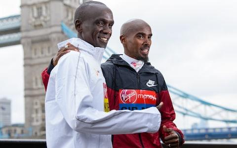 Farah will go head-to-head with Eliud Kipchoge at the London Marathon - Credit: GETTY IMAGES