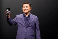 TM Roh of Samsung Electronics unveils the Galaxy S20 Ultra 5G smartphone during Samsung Galaxy Unpacked 2020 in San Francisco
