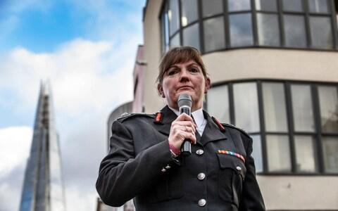 Firefighters hold a 'Guard of Honour' for Dany Cotton, LFB boss who quit in the aftermath of the Grenfell Fire report - Credit: Jeff Gilbert