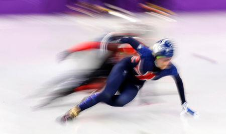 Short Track Speed Skating Events – Pyeongchang 2018 Winter Olympics – Women's 500m Quarterfinal – Gangneung Ice Arena - Gangneung, South Korea – February 13, 2018 - Elise Christie of Britain in action. REUTERS/Damir Sagolj
