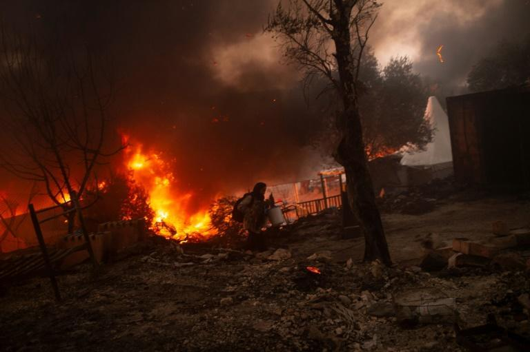 The Moria camp on the Aegean island of Lesbos was home to more than 10,000 people before it was destroyed by two fires in September 2020