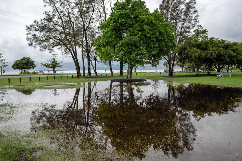 Flooding in a park cause by heavy rain..Ex -tropical cyclone Uesi hits South East Queensland. Severe storm hits South East Queensland and Brisbane CBD causing traffic chaos and floods. (Photo by Florent Rols / SOPA Images/Sipa USA)