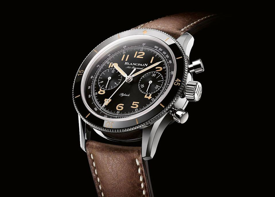 """<p>Air Command Chronograph Flyback Limited Edition</p><p><a class=""""link rapid-noclick-resp"""" href=""""https://www.watches-of-switzerland.co.uk/c/Brands/Blancpain/filter/Page_1/Psize_96/Recipient_For-Him/Show_Page/Sort_relevance/"""" rel=""""nofollow noopener"""" target=""""_blank"""" data-ylk=""""slk:SHOP"""">SHOP</a></p><p>The Blancpain Air Command was originally produced in the Fifties, intended for use by the US Air Force. For this 500-piece limited edition, Switzerland's oldest watch manufacturer wanted to remain as faithful as possible to that original model – with a few concessions to modernity. To wit, the combination of an ultra-vintage look with modern materials and a modern movement.</p><p>£15,170; <a href=""""https://www.blancpain.com/en"""" rel=""""nofollow noopener"""" target=""""_blank"""" data-ylk=""""slk:blancpain.com"""" class=""""link rapid-noclick-resp"""">blancpain.com</a></p>"""
