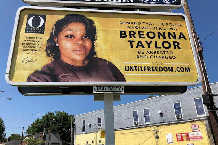 A billboard sponsored by O, The Oprah Magazine, is on display with a photo of Breonna Taylor. Twenty-six billboards are going up across Louisville, demanding that the police officers involved in Taylor's death be arrested and charged.
